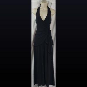 WHBM Black Halter Faux Wrap Jumpsuit Size XS